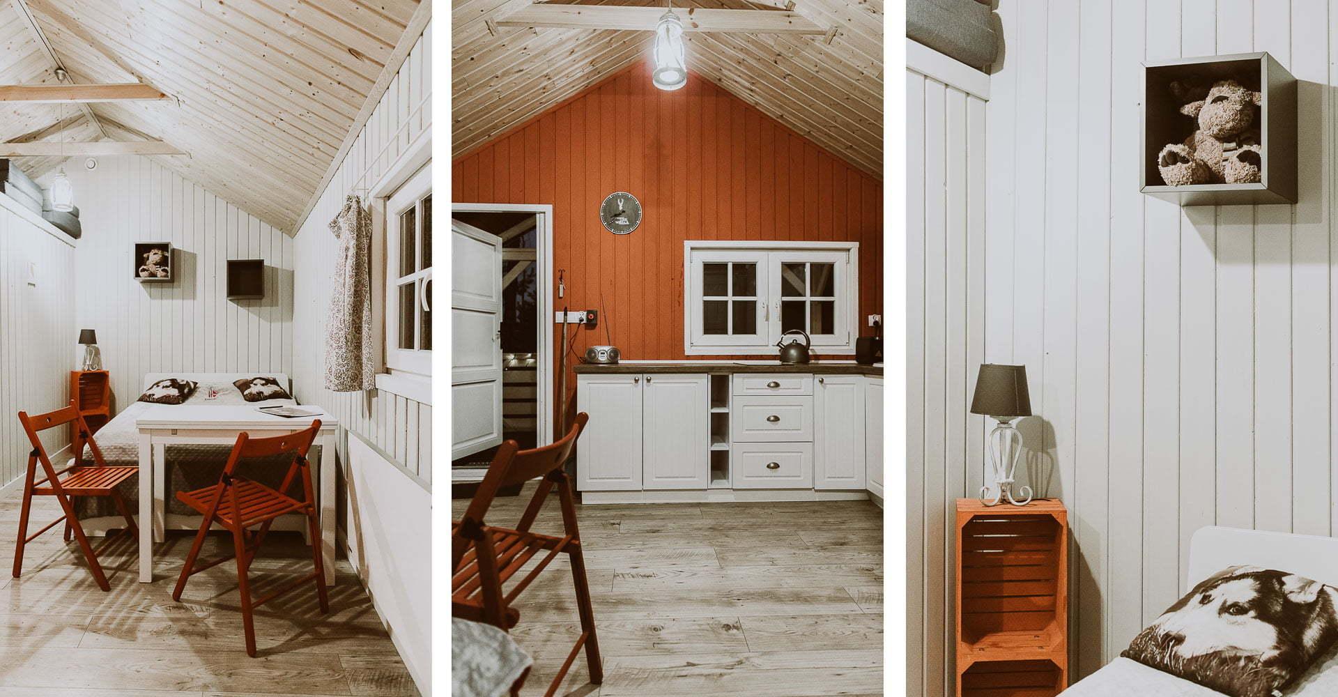 Arendel Wioska Norweska - wnętrze domek czerwony